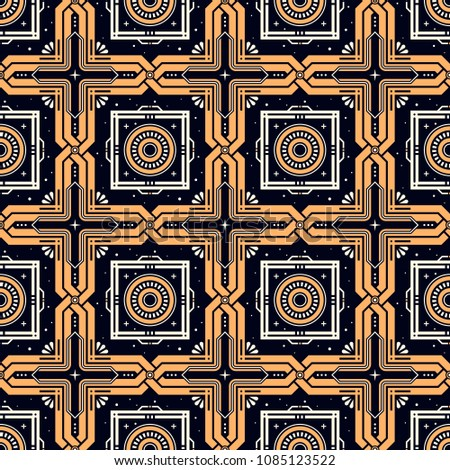 Energy Bastion. Seamless pattern with stars and golden elements in esoteric style. Alchemy, space, spirituality, mysticism.
