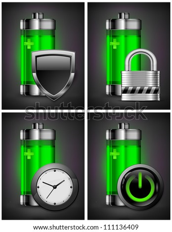 Energy battery icon with different symbol on green, recycling concept, vector illustration