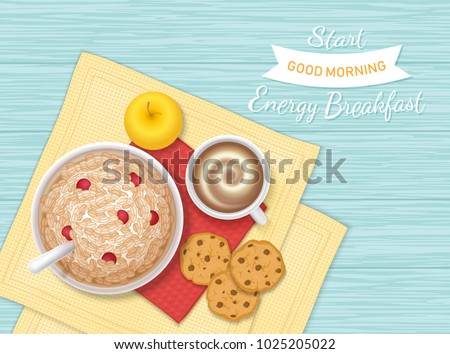Energy Breakfast. Food, bakery,drink, fruit. Closeup of oatmeal Porridge with berries, chocolate biscuits, coffee with foam, apple on a napkin and wooden table. Top view. Vector illustration.