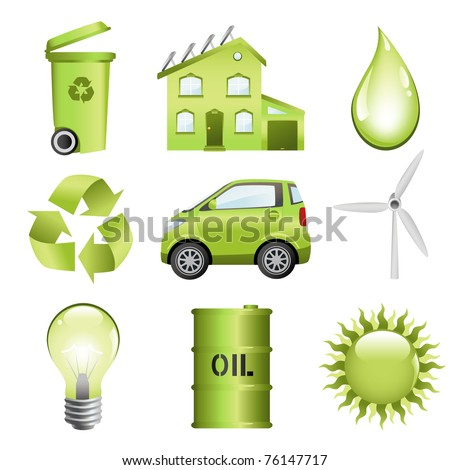 Energy conservation computer icon set. Vector file included.