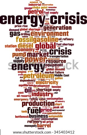 Energy crisis word cloud concept. Vector illustration
