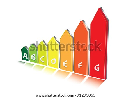 Energy 3d Rating Graph with arrows. Vector illustration.