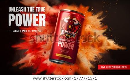 Energy drink ad design on exploding powder effect background in 3d illustration