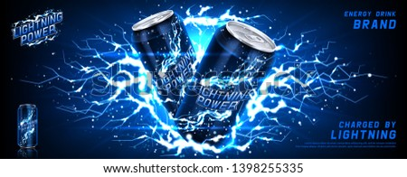 Energy drink ads banner. Vector illustration with energy drink can, bright lightnings and shining thunderstorms. Realistic 3d illustration.