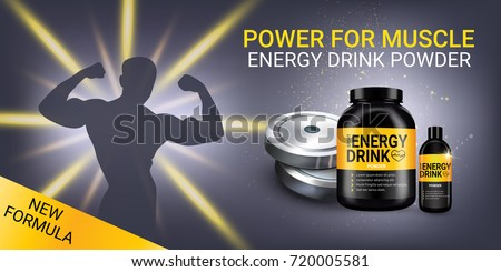 Energy drink ads. Vector realistic illustration of shaker and cans with energy drink powder. Horizontal banner with product and sport equipment.