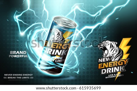 energy drink contained in metal can with electricity current element, teal background 3d illustration