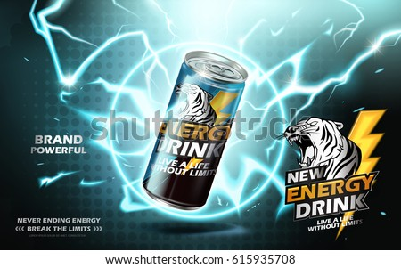energy drink contained in metal can with electricity ring element, teal background 3d illustration