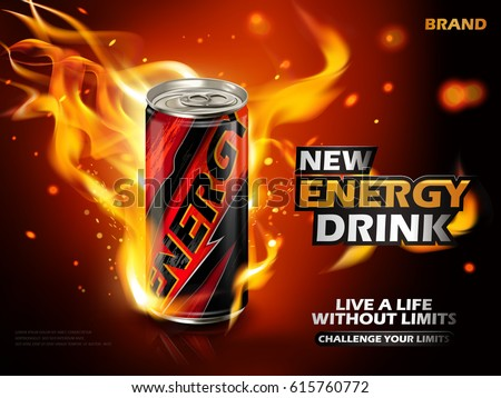 Shutterstock energy drink contained in metal can with flame element, red background 3d illustration