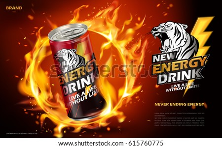 energy drink contained in metal can with flaming hoop element, red background 3d illustration