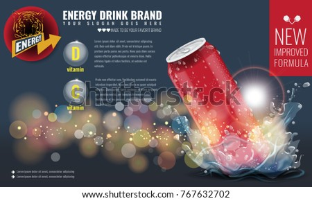 energy drink metal can mockup