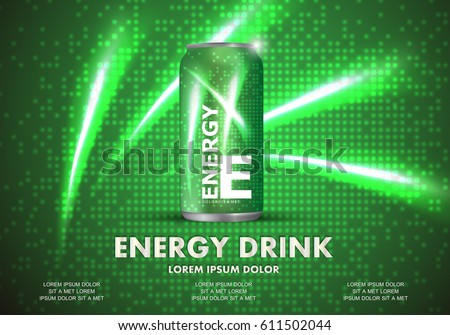 Energy drink on sparkly and shiny backdrop.Contained in green can template,with element surrounds.For web site,poster,placard,wallpaper and flyer.Also useful for ads,advertisement and social network