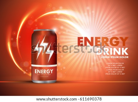 Energy drink on sparkly and shiny backdrop.Contained in orange can template,with element surrounds.For web site,poster,placard,wallpaper and flyer.Also useful for ads,advertisement and social network