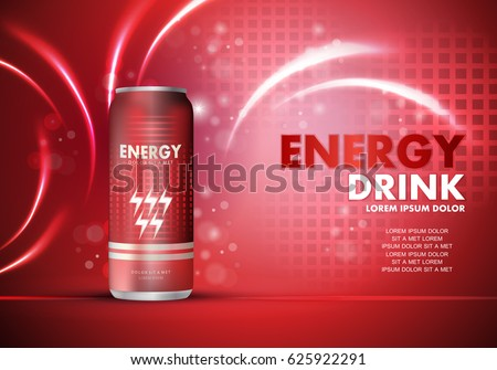 Energy drink on sparkly and shiny background.Contained in can template.For poster,placard,web site and flyer.Useful for ads,advertisement and social network