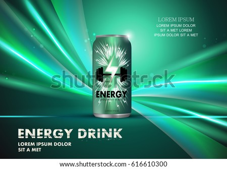 energy drink on wavy and shiny