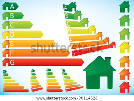 Energy Efficiency Rating Graphs in color combining bar arrows and houses, set of illustrations.