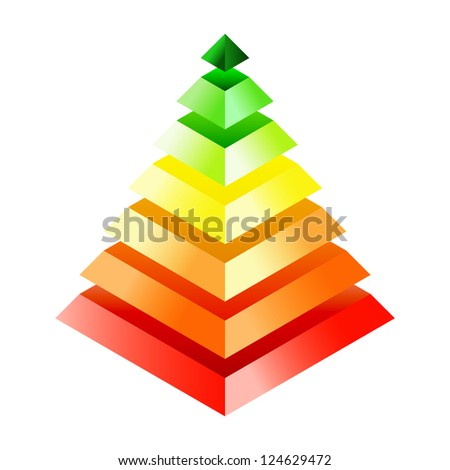 Energy efficiency rating - three-dimensional pyramid. Eps10