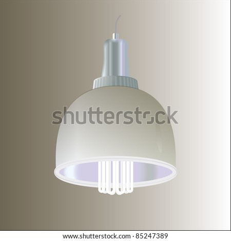 energy efficient fluorescent lamp with shade. vector