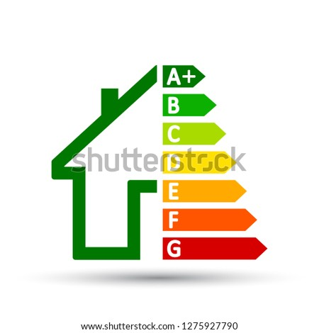 Energy efficient house concept with classification graph sign – vector