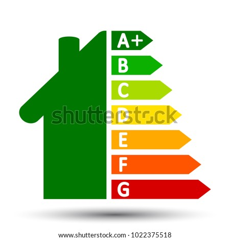 Energy efficient house concept with classification graph – stock vector