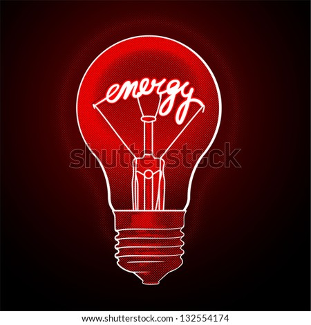 Energy electric light bulb. Red and black vector concept. #132554174