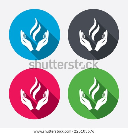 Energy hands sign icon. Power from hands symbol. Circle buttons with long shadow. 4 icons set. Vector