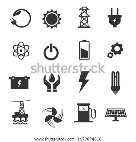 Energy icon set.  Electricity Ecology And Energy Vector symbols.