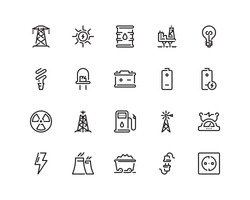 Energy icon set, outline style
