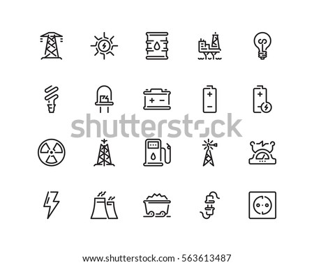 energy icon set  outline style