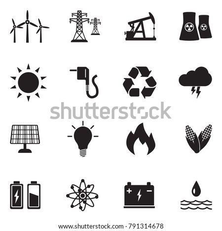 Energy Icons. Black Flat Design. Vector Illustration.