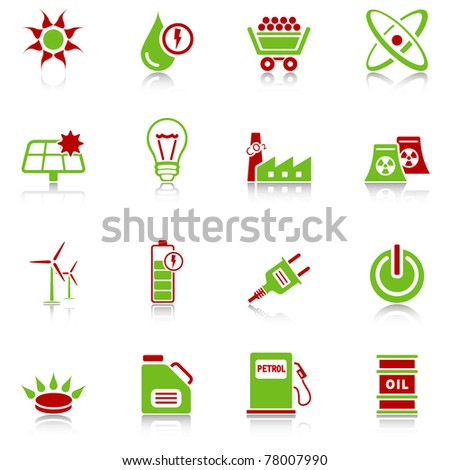 Energy icons - green-red series