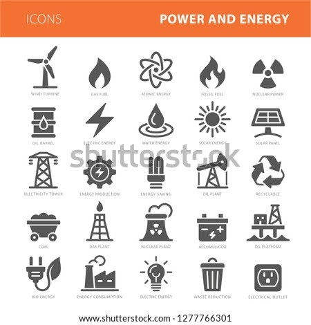 energy icons grey vector