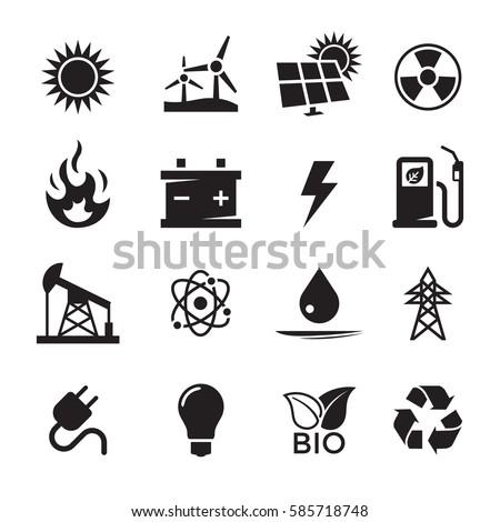 energy icons set. black on a...