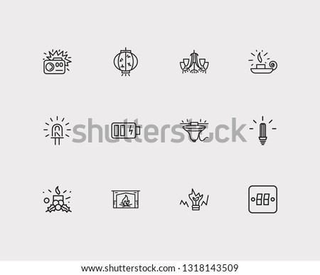energy icons set cfl lamp and