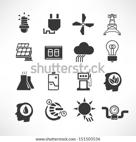 energy icons set, electricity icons