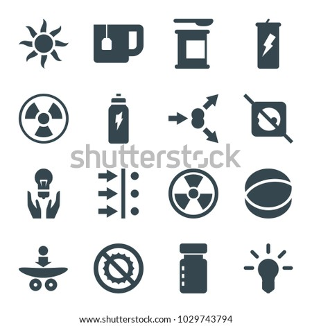 Energy icons. set of 16 editable filled energy icons such as bottle for fitness, protein powder, atom move, radiation, no plug, no brightness, bulb, atom, energetic drink, sun