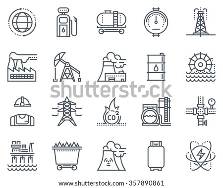 energy industry icon set