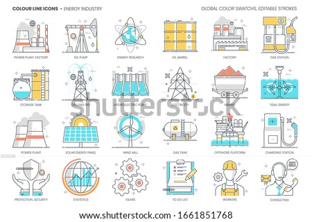 Energy industry related, color line, vector icon, illustration set. The set is about power plant, factory, global warming, environment friendly, energy research, energy, ecology, plant, energy.