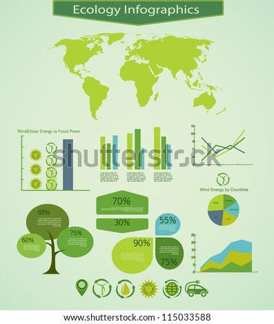 Energy info graphics design elements