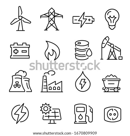 Energy line art icon, technology and electricity power. Different sources of energy, collector panels, energy production, resources. Vector energy sign lustration
