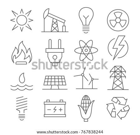 Energy line icons set on white background