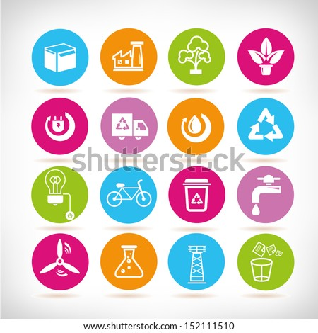 energy management icons set,  round button set