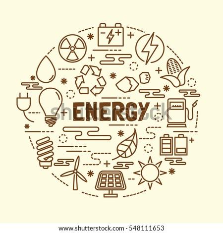 energy minimal thin line icons set, vector illustration design elements