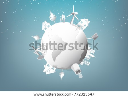 Energy of the world Include solar panels nuclear fossil and wind turbines.Eco green city theme.Paper art style.Vector illustration.