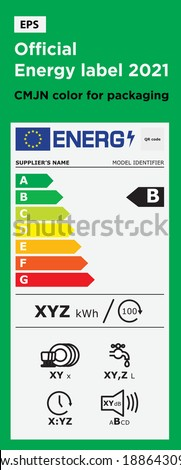 Energy performance diagnosis or DPE  horizontal stickers for 2021. Vector Energy performance system sign. Diagnostic symbol logo for packaging design