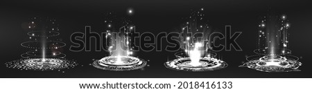 Energy portals with glow and heat effect. Teleport, magic portal, podium, lvl up, hologram - concept.  Fantastic hologram, hi-tech technology, podium and magic portal. Vector collection level up Stock fotó ©