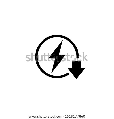 Energy reduction outline icon. Clipart image isolated on white background Foto stock ©