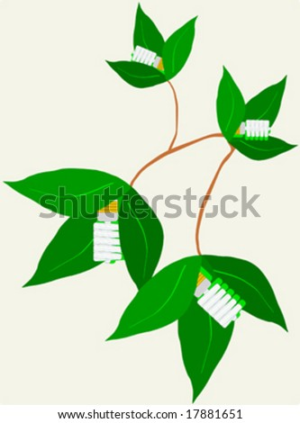 Energy saver light bulbs on green plant
