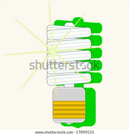 Energy saving bulb with green shadow