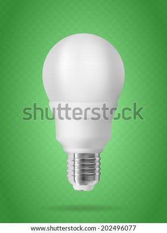 Energy saving light bulb on green background. Realistic vector illustration.
