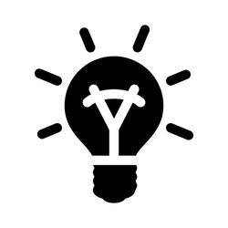 energy saving light icon, vector bulb light illustration - electric lightbulb fluorescent symbol